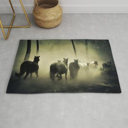 Herd of Horses Running Down a Dusty Path Rug