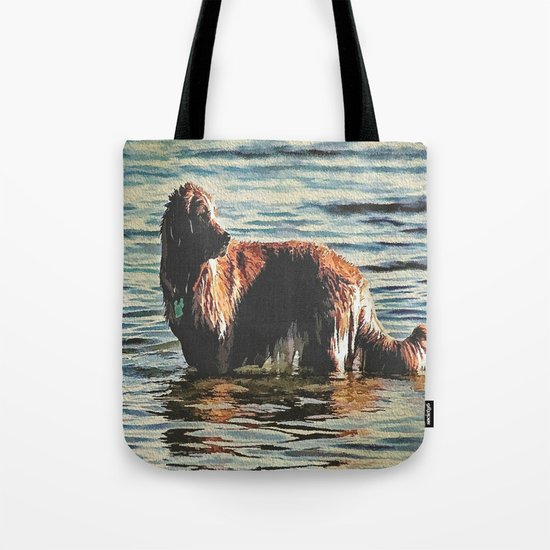 Dog Having Fun In The Water  Tote Bag