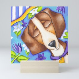 Happy Dreams Dachshund Dog Original Art Mini Art Print