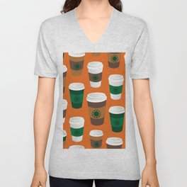 Hot Coffee Cup Party in Light Pumpkin Spice Unisex V-Neck
