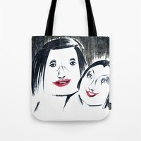 lipstick Tote Bags featuring Lipstick by Linda Roy Art