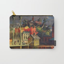 New England Town on the Two Rivers with Bridge landscape painting by Peter Blume Carry-All Pouch