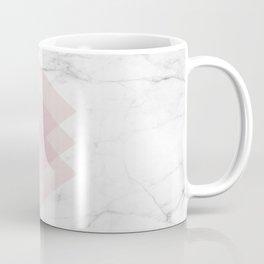 White Marble Scandinavian Geometric Blush Pink Squares Coffee Mug