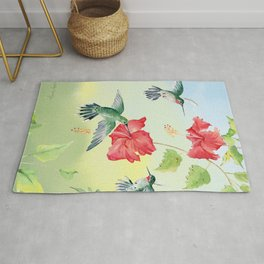 Colorful Hummingbirds and Hibiscus  Rug