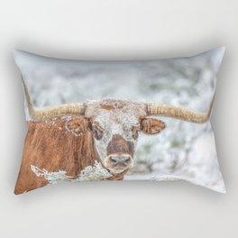 Texas Longhorn - Winter Portrait Rectangular Pillow