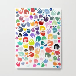Hands Flowers and Hearts Colorful Abstract Pattern Art Metal Print