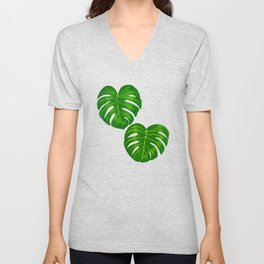 Green Tropical Monstera Deliciosa Leaves Unisex V-Neck
