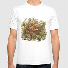 The Cottontail and the Katydid White Mens Fitted Tee MEDIUM