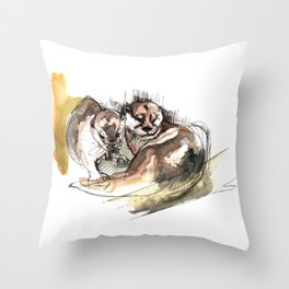 Totem: Asian small-clawed otter (c) 2017 Throw Pillow
