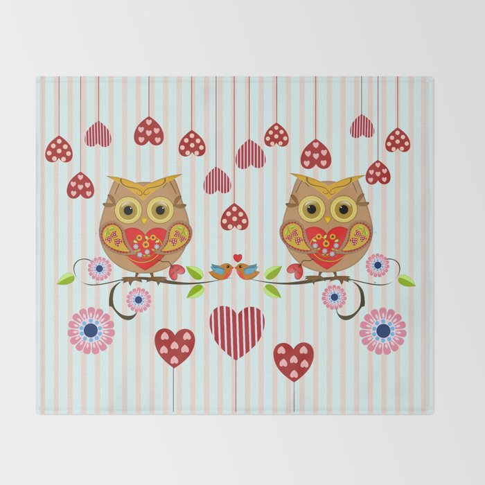 Valentine S Day Owl With Hearts Throw Blanket By Walstraasart Society6