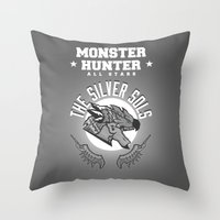 monster hunter Throw Pillows featuring Monster Hunter All Stars - The Silver Sols by Bleached ink