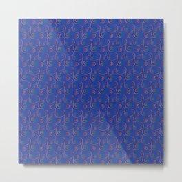 Mardi Gra Lace Rainbow on Reflex Blue Metal Print
