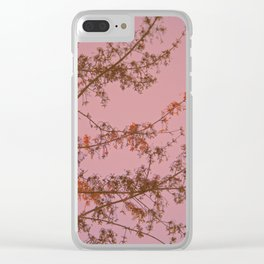 Pink Sunset Tree Abstract Clear iPhone Case