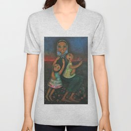 Classical African-American Masterpiece 'Family' by Hedi Schoop Unisex V-Neck