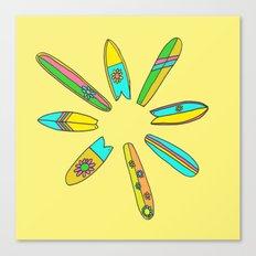 Retro Surfboard Flower Power Yellow Canvas Print
