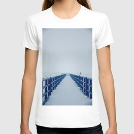 Blue pier covered in snow in winter T-shirt