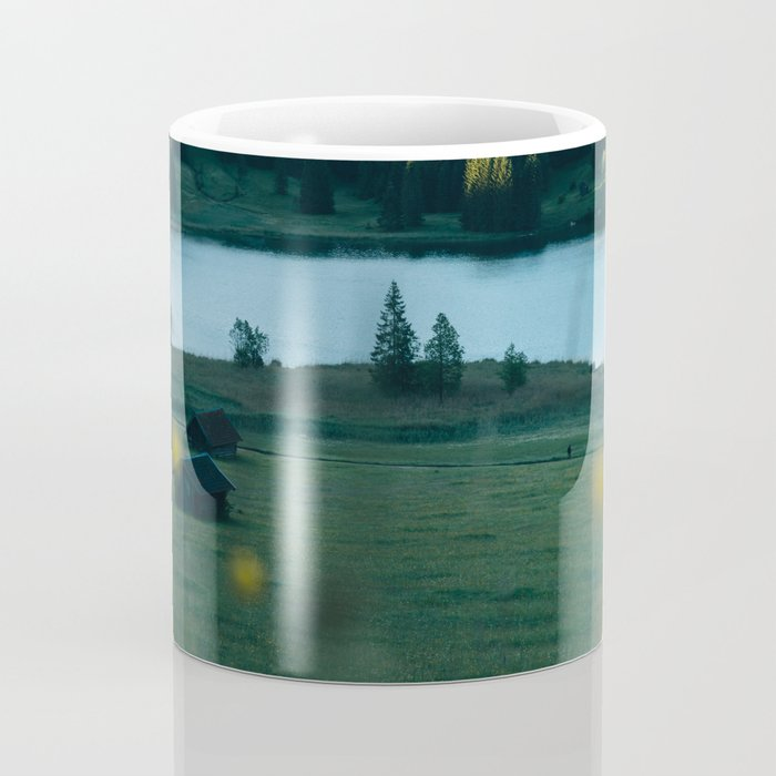 Sunrise at a mountain lake with forest - Landscape Photography Coffee Mug