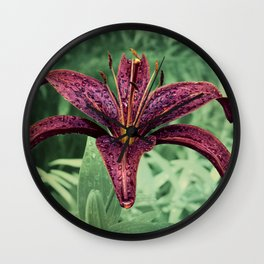 Red Lily with Raindrops A200 Wall Clock