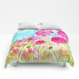 Symphony In Pink, Watercolor Wildflowers Comforters