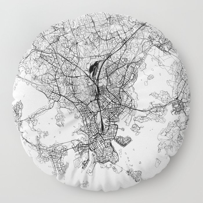 Helsinki White Map Floor Pillow