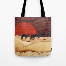 Desert landscape marquetry art Tote Bag