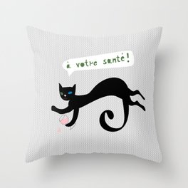 party animals - french cat Throw Pillow
