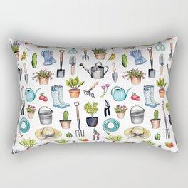Garden Gear - Spring Gardening Pattern w/ Garden Tools & Supplies Rectangular Pillow