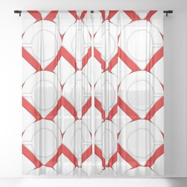 White Circles And Red Squares Abstract Geometric Pattern Sheer Curtain