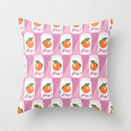 Pop Art Citrus (Pink Cow) Throw Pillow