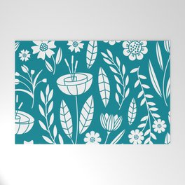 Blooming Field - teal Welcome Mat