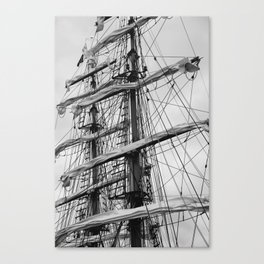 Sailing Ship black and white photo 2 Canvas Print