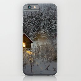 Tiny Cabin In The Winter Forest Snow Covered Pine Trees iPhone Case