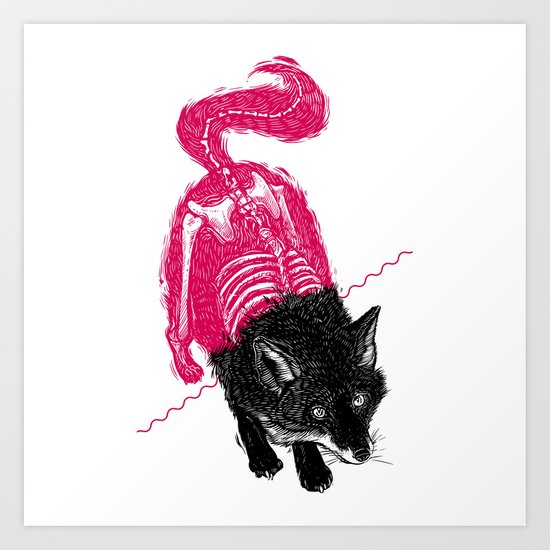 Stripped Fox Art Print