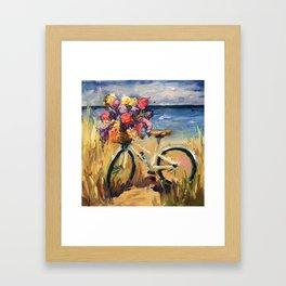 Beach Beauty Bike on the Beach Framed Art Print