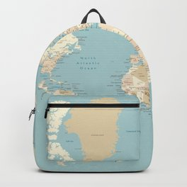 """Cream, brown and muted teal world map, """"Jett"""" Backpack"""