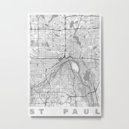 St Paul Map Line Metal Print