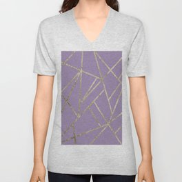 Classic Lavender Gold Geo #1 #geometric #decor #art #society6 Unisex V-Neck