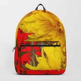 DECORATIVE  YELLOW DANDELION BLOSSOM ON ORGANIC RED ART Backpack