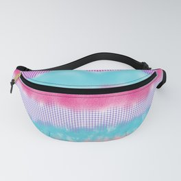 Abstract  pink teal lilac watercolor brushstrokes polka dots Fanny Pack