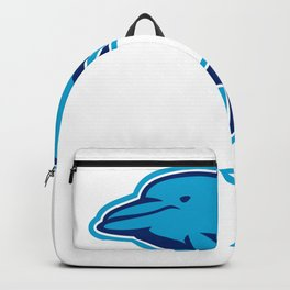 Blue Dolphin Jumping Retro Backpack
