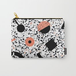 Terrazzo Stone Pattern Memphis Style Orange and Black Carry-All Pouch