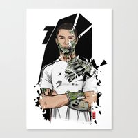 real madrid Canvas Prints featuring Football Legends Cristiano Ronaldo Real Madrid Robot by Akyanyme