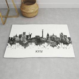 Kyiv Ukraine Skyline BW Rug