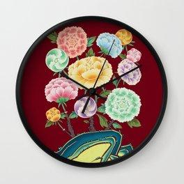 Minhwa: Peony Flowers and Rock Type C (Korean traditional/folk art) Wall Clock