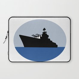World War Two Battleship Destroyer Oval Retro Laptop Sleeve