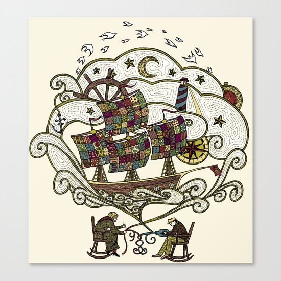 My Father was a Sailor, and My Mother, a Quilter Canvas Print