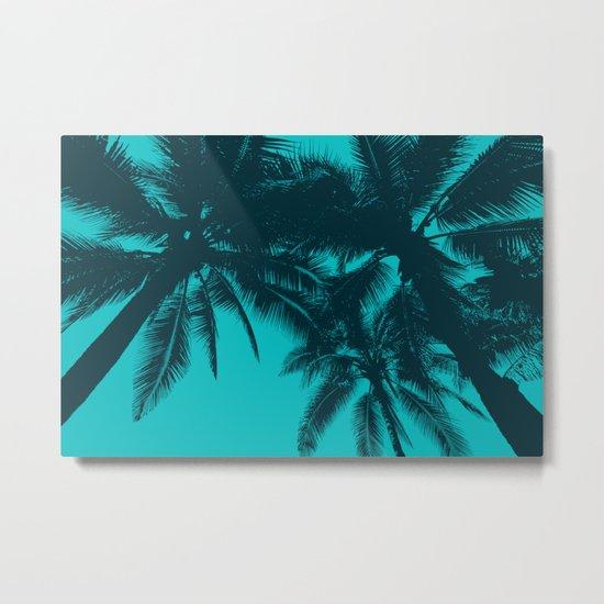Blue palms in summer Metal Print