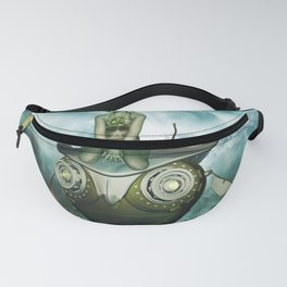 Steampunk women fly with a mechanical owl Fanny Pack
