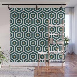 New Art Deco hexagons Emerald green, Mustard yellow geometrics Wall Mural