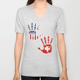 USA Switzerland Handprint & Flag | Proud Swiss American Heritage, Biracial American Roots, Culture, Unisex V-Neck